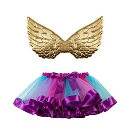 $enCountryForm.capitalKeyWord Australia - Princess Tutu Puffy Skirt With Golden Wings 11 Designs INS Dress Costume Girls Bubble Bust Skirt Party Communion Gowns 3 Pieces ePacket