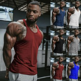 $enCountryForm.capitalKeyWord Australia - Stylish Hot Sale Men O-neck Simple Sleeveless Solid Slim Fit Tank Tops Gym Bodybuilding Sport Fitness Workout Vest Clothing S-XL