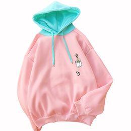 $enCountryForm.capitalKeyWord Australia - Women Pink Long Sleeve Kawaii Pullover Loose Casual Harajuku Splicing Cute Cartoon Panda Moletom Autumn Winter Fleece Sweatshirt
