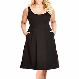 Wholesale casual sundresses for plus size women resale online – Samtree Plus Size Dresses for Women Casual Sleeveless Fit and Flare A line Sundress