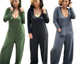 hoodie jumpsuits rompers Australia - Sexy Deep V Neck Hoodies Plus Size 3XL jumpsuit overalls Solid Color Cotton Rompers Stretched Loosed Wide Leg Pants With Pockets