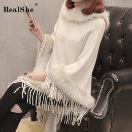 computer clock NZ - RealShe 2018 New Winter Women Sweaters Fashion Clock Batwing Sleeve Tassel Pullovers Loose Knitting Sweaters Female Jumper Tops