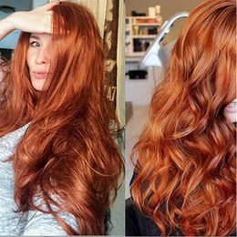 orange wavy wig Australia - Full Density Lace Front Long Wavy Wig for Women's Fashion Wig Orange Synthetic Hair Long Wigs Wave Curly Wig Heat Resistant Middle Part