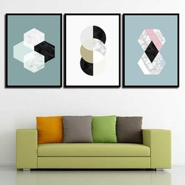 Watercolor Style Kids Decor Poster Abstract Diamond Shaped Circle Nordic  Girlu0027S Room Pictures Prints Painting HD Wall Art Canvas