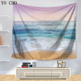 Wall Curtains Australia - ecorative carpet YO CHO Blue Sea Printed Tapestry Home Decor Carpet Polyester Hanging Wall Tapestries Picnic Sheet Door Curtain Bedspre...