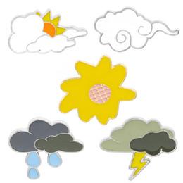 $enCountryForm.capitalKeyWord Australia - Creative cloud cartoon pattern lightning weather Brooch thunder rain cloudy fashion novelty Denim Coat Shirt Pin Badge Jewelry