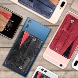 $enCountryForm.capitalKeyWord Australia - Universal Multifunction PU Leather Wallet Back Sticker Cover With Card Slots Finger Ring Sticker for Cell Phone Case 3M Glue