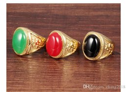 Ring Width Size Australia - Classic Wedding Ring Black_Red_Green Stone Men Ring Gold Color Party Rings Men Jewelry Size Adjustable 10mm Big Width GJ035