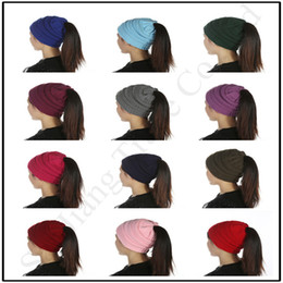 ClassiC CroChet hat online shopping - Women Ponytail Knitted Hat Visor Cap Female Crochet Wool Hats Outdoor Ski Elastic Hole Beanie Hat Label Winter Warm Skull Caps C91806