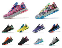kevin durant shoes kd cheap NZ - Cheap Mens what the KD 6 vi low tops basketball shoes Aunt Pearl Pink BHM MVP Blue Gold Floral Kevin Durant KD6 sneakers boots kd6 for sale