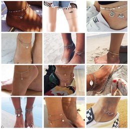 Discount vintage plastic figures - Bohemian Multiple Layers Starfish Turtle Beads Anklets For Women Vintage Boho Shell Chain Anklet Bracelet Beach Jewelry