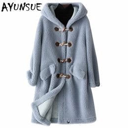 jacket fur lined hood women NZ - AYUNSUE 2019 New Wool Real Fur Coat for Women Clothes Winter Sheep Jackets Coats Female Long Hooded Suede Lining Overcoat 978001 T200104