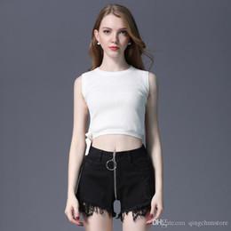 Legs Rings Australia - Free Shipping Summer New Ring Zipper Denim Shorts Raw Lace Sexy Hot Pants High Waist Jeans Wide Leg Shorts