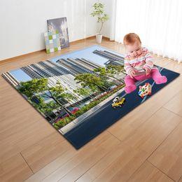 Discount kids play pad - Creative Modern Building Print Carpet Children Kid Play Pad Area Rug Floormat Blanket for Livingroom Bedroom Home Decor