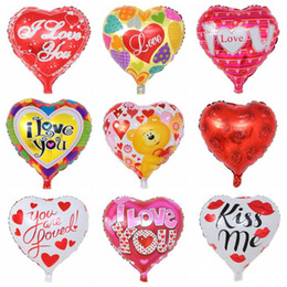 Aluminium Heart Balloon Australia - Valentine's Day Balloon Inflatable Heart Shaped Balloons I Love You Aluminum Balloon Party Supplies 18 Inch 19 Designs Optional