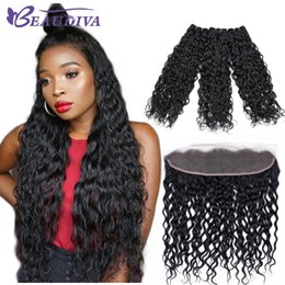 Cheap human hair frontal online shopping - Water Wave Virgin Hair Extensions Beaudiva Human Hair Bundles With Closure Cheap A Brazilian Hair Bundles With Lace Frontal