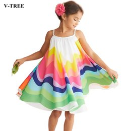 clothing for beach party 2019 - 2019 Summer Girls Dress Chiffon Sleeveless Dresses For Kids Children Rainbow Clothing Baby Princess Dress Toddler Party