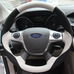 Discount ford escape cars - White Genuine Leather Black Suede Hand sewing Car Steering Wheel Cover for Ford Focus 3 2012-2014 KUGA Escape 2013-2016