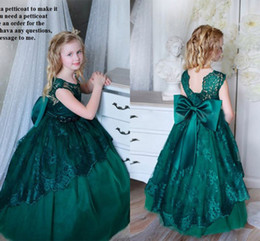 Sweet Little Dark Green Party Filles Robes de bal en dentelle Big Bow col rond robe de bal Princesse Pageant robe Teens Flower Girl Robes pas cher