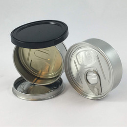 Wholesale lid s online – design Tuna Tin Cans ml black lids included strain tin can ml concentrate container food herb Storage