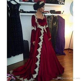 Long gowns veLvet green online shopping - Real Photo Arabic Burgundy Velvet Formal Evening Dresses Lace Appliques Long Sleeves Caftan Dubai Prom Gowns Muslim Party Dress
