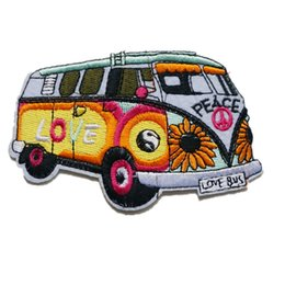 Love patches online shopping - 10CM Embroidery Patch Sew Iron On Patches Peace Love Bus Embroidered Badges For Bag Jeans Hat T Shirt DIY Appliques Craft Decoration