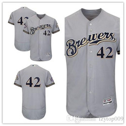 2b51e1965 Men s Brewers Gray Milwaukee 2018 Jackie Robinson Day Authentic Flex Base  women kids Jersey