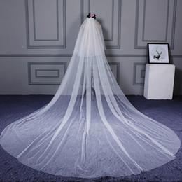 Long Church Veils Australia - Pure Ivory Tulle Two Layers Wedding Veils Long for Women 3 5 Meters Church Bridal Veil velos de novia