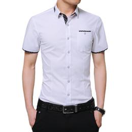 Fake Branded Shirts Australia - Plus Size 5xl 2019 Summer Brand Shirt Male Shirt Sleeve Social Shirts Turn-down Collar Fake Pocket Design Shirt Imported Clothing