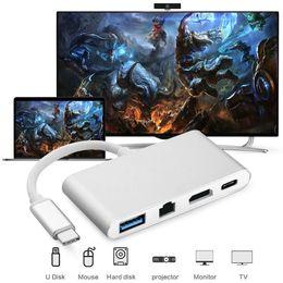 Usb Video Adapter Hdmi Vga Australia - 4 in 1 USB-C USB Hub Adapter 3.1 Type C to HDMI 4 K + Gigabit Ethernet RJ45 + USB 3.0 Multilport Digital Video Converter