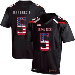 Black yellow american footBall jersey online shopping - Mens Custom Patrick Mahomes II Football Jersey Texas Tech USA Flag Fashion Print High Quality Stitched College American Football Jerseys