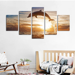 Oil painting dOlphins online shopping - 5pcs set Unframed The Jumping Dolphin Sunset HD Print On Canvas Wall Art Painting For Living Room Decor