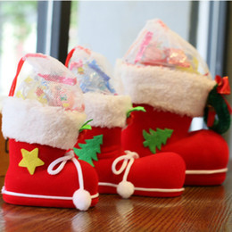 Discount christmas shoes boots kids - Cute 4 Size Christmas Home Party Decor Santa Claus Boot Shoes Stocking Kids Child Candy Gift Holder Bags Tree Decoration