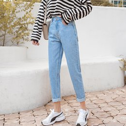 white jeans branded NZ - New Women 2019 Brand Jeans Black White Blue Harem Pants Washed Denim Ankle-length Pants Female Spring Summer Loose Casual Jeans Y19072301