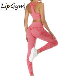 pink yoga sets Canada - 2PCS Camouflage Yoga Set Sports Wear Women Gym Fitness Clothing Booty Yoga Leggings + Sport Bra Seamless GYM Sport Suit Femme