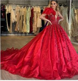 $enCountryForm.capitalKeyWord Australia - Evening dress Yousef aljasmi Labourjoisie Zuhair murad Ball Gown One-Shoulder Sleeveless Red Organza Crystal Sequin Long Dress 1James_paul