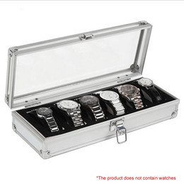 Wholesale Boxes Packaging Australia - 6 Grid Insert Slots Jewelry Display Storage Case Aluminium Watch Box Organizer Holder Packaging Silver For Men Valentine Gift