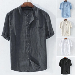 mens white linen 2019 - Mens Shirts Short Sleeved Loose Summer Breathable Cotton Lnen Collar Shirt Mens Beach Casual Shirt 5 Colors Plus Size As