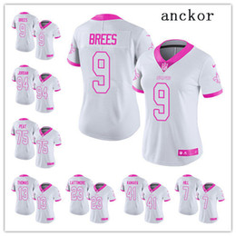5495d0b3 New Orleans MEN WOMEN YOUTH 41 Alvin Kamara 9 Drew Brees Limited Jersey  Football Saints White Pink Rush Fashion