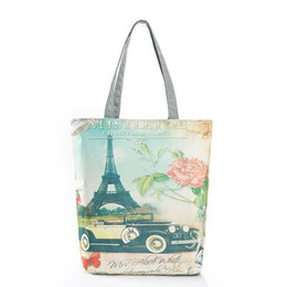 $enCountryForm.capitalKeyWord Australia - Miyahouse Paris Tower Printed Women Canvas Handbag Landscape Top-Handle Bags Bolsa Female Cheap Shoulder Shopping Bag