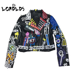 Wholesale punk biker clothing resale online - LORDLDS Leather Jacket Women Graffiti Colorful Print Biker Jackets and Coats PUNK Streetwear Ladies clothes Y190920