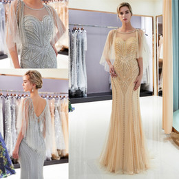 2c8ee550de1 Designer party wear long gowns online shopping - Luxury Beaded Pearls Gold  Gray Mermaid Prom Dresses