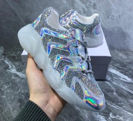 Crystal Diamond Fabrics Australia - 2019 new Casual Shoes trend reflective water diamond fabric bear transparent soles fashion personality colorful laser crystal women's shoes