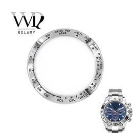 Опт Rolamy Оптовая высокое качество нержавеющей стали 316L серебро с черными надписями 38,6 мм часы безель для 116500 - 116520