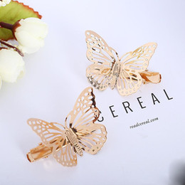 Hair Clips Butterfly Shaped Australia - hot sale Fashion Exquisite Metal Hollow out Butterfly shape Hairpins Hair Clips Women Satement Hairwear Accessories Jewelry