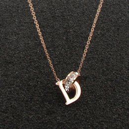 $enCountryForm.capitalKeyWord Australia - New D Letter And Crystal Annulus Interlocking Rose Gold Pendant Necklace 316 Stainless Steel High Polished Necklace For Women