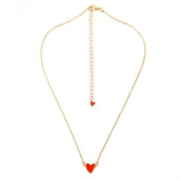 $enCountryForm.capitalKeyWord UK - European and American fashion new girl heart red drop oil simple double love clavicle chain necklace new jewelry wholesale