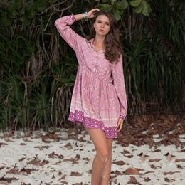 Vintage Hippie Shirts Australia - KHALEE YOSE Pink Floral Boho Women Dress Long Sleeve Elastic Waist Gypsy Plus Size Vintage Hippie Beach Mini Shirt Dresses 2019