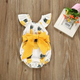 body tutu Australia - Sweet Cute Body Suits 2019 Newborn Baby Girls Pineapple Print Romper Bodysuit Bowk Fly Sleeve Bodysuits Sunsuit Outfit Summer