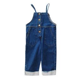 1c9121c890e7 Kids jean suspender pants 2019 spring new girls single breasted double  pocket denim pants children cowboy overalls jumpsuits clothes F4129